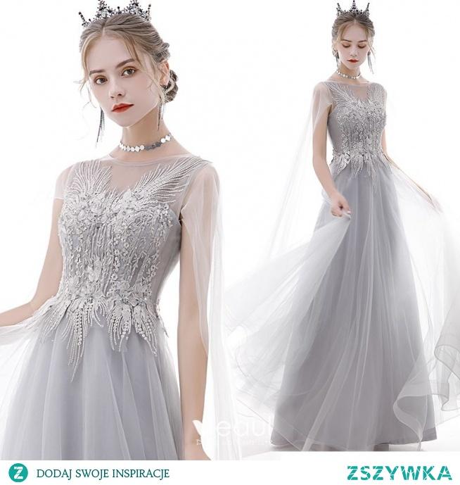 Elegancka Szary Sukienki Na Bal 2020 Princessa Wycięciem Perła Rhinestone Cekiny Z Koronki Kwiat Kótkie Rękawy Bez Pleców Długie Sukienki Wizytowe