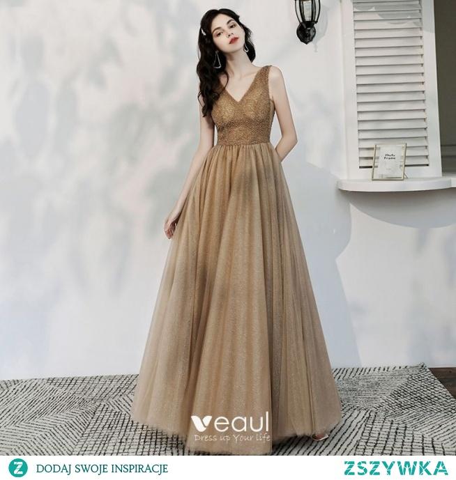 Piękne Szampan Cekinami Sukienki Wieczorowe 2020 Princessa V-Szyja Frezowanie Bez Rękawów Bez Pleców Długie Sukienki Wizytowe
