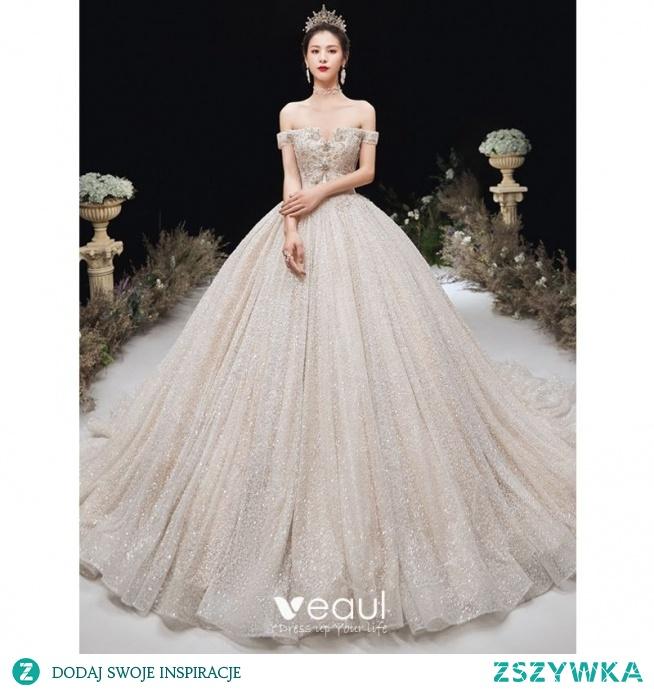 Luksusowe Szampan Cekinami Suknie Ślubne 2020 Suknia Balowa Przy Ramieniu Frezowanie Rhinestone Z Koronki Kwiat Bez Rękawów Bez Pleców Trenem Katedra