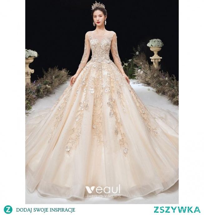 Wysokiej Klasy Szampan Suknie Ślubne 2020 Princessa Wycięciem Frezowanie Rhinestone Z Koronki Kwiat Długie Rękawy Bez Pleców Trenem Katedra