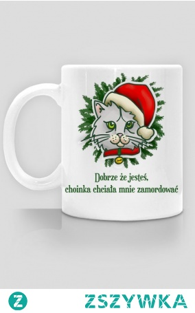 Świąteczny kubeczek dla posiadaczy kotów. Miły prezent na święta i mikołajki.