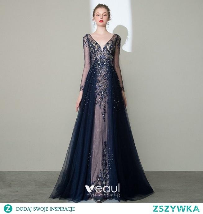 Luksusowe Granatowe Przezroczyste Korowód Sukienki Wieczorowe 2020