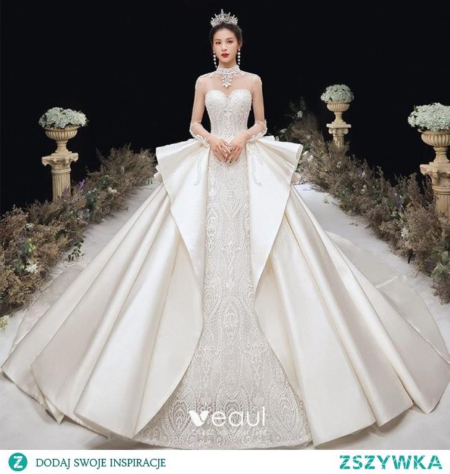 Luksusowe Szampan Satyna Przezroczyste Suknie Ślubne 2020