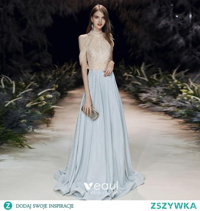 Wysokiej Klasy Uroczy Srebrny Cekinami Sukienki Wieczorowe 2020 Princessa Wysokiej Szyi Frezowanie Cekiny Bez Rękawów Bez Pleców Trenem Sweep Sukienki Wizytowe