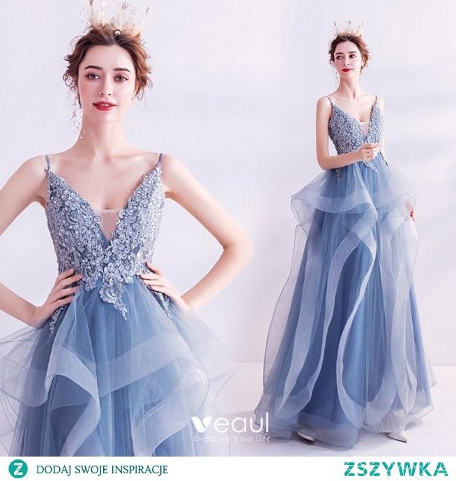 Eleganckie Niebieskie Sukienki Na Bal 2020 Princessa Spaghetti Pasy Rhinestone Cekiny Z Koronki Kwiat Bez Rękawów Bez Pleców Kaskadowe Falbany Długie Sukienki Wizytowe