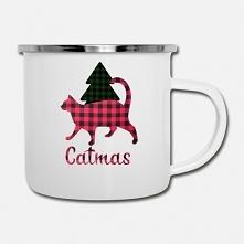 Cudny kubeczek emaliowany z kotem i choinką. Świetny pomysł na prezent.