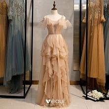 Moda Szampan Sukienki Wiecz...