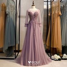 Eleganckie Liliowy Sukienki...