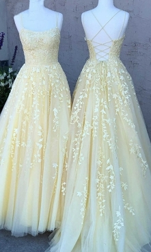 Light Yellow Prom Dresses S...
