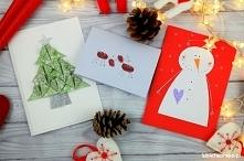 Tutorial, z którego dowiecie, jak wykonać 3 ciekawe kartki świąteczne :) #kar...