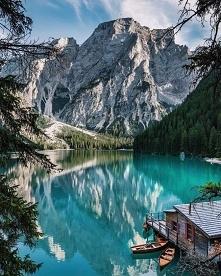 Lago di Braies, Italy.  Pho...