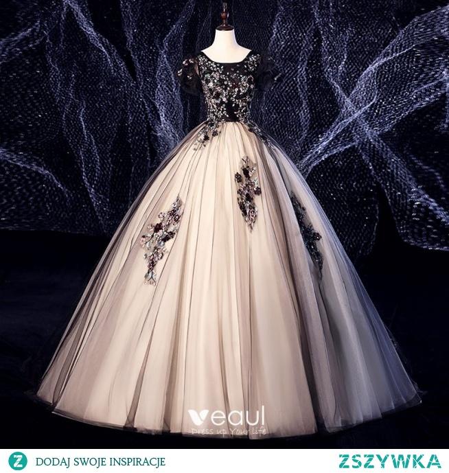 Eleganckie Czarne Sukienki Na Bal 2020 Suknia Balowa Zamszowe Wycięciem Z Koronki Kwiat Cekiny Rhinestone Kótkie Rękawy Bez Pleców Długie Sukienki Wizytowe