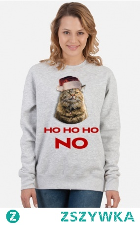 Bluza z nadrukiem Grumpy cat: ho ho ho no. Pomysł na prezent na mikołajki lub święta.