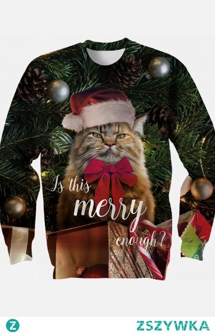 Bluza z kotem w czpce mikołaja. Fullprint. Napis: Is this merry enough?