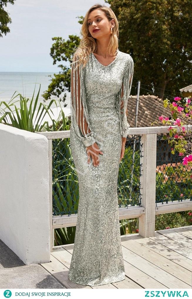 Długa suknia cekinowa w srebrnym kolorze z pięknymi rękawami. Sylwestrowa sukienka, sukienka na wesele, sukienka na sylwestra, sukienka na bal, srebrna suknia  lejdi.pl