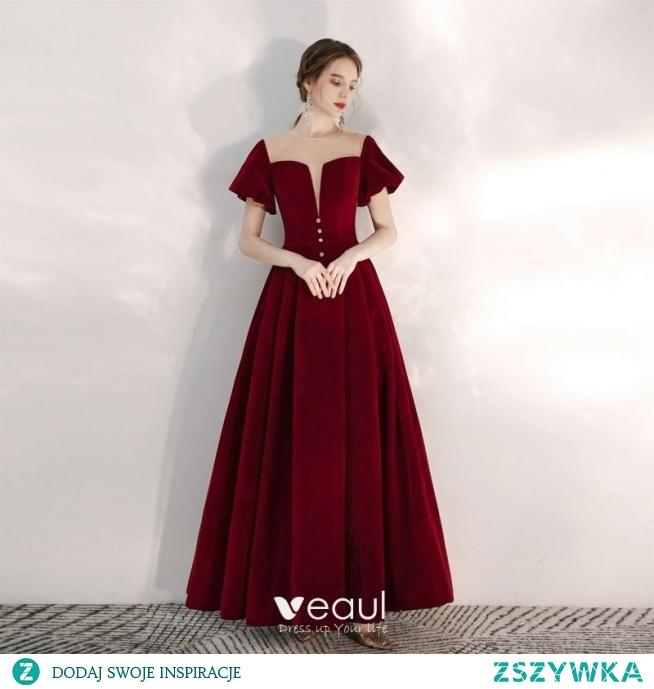 Eleganckie Burgund Sukienki Na Bal 2020 Princessa Zamszowe Wycięciem Kótkie Rękawy Bez Pleców Długie Sukienki Wizytowe