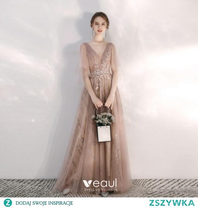 Piękne Szampan Sukienki Wieczorowe 2020 Princessa V-Szyja Cekinami Frezowanie Z Koronki Kwiat Rhinestone Cekiny 1/2 Rękawy Bez Pleców Długie Sukienki Wizytowe