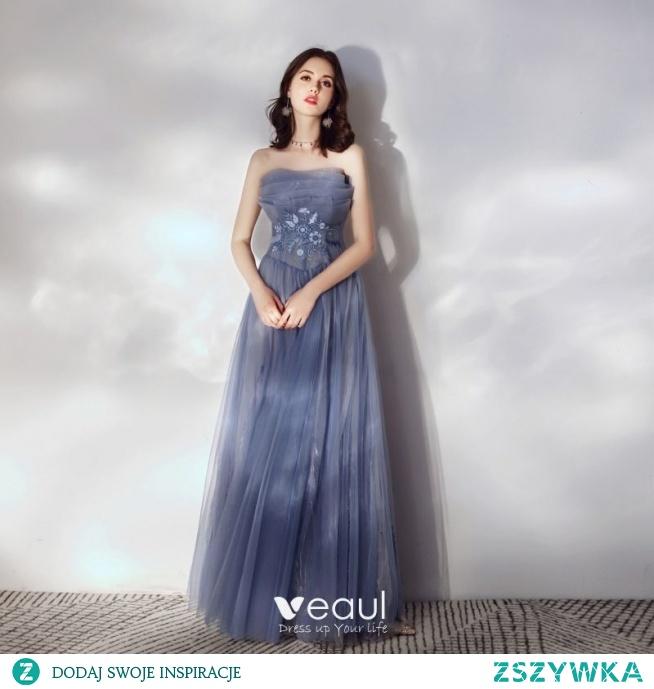 Piękne Ciemnoniebieski Sukienki Na Bal 2020 Princessa Bez Ramiączek Z Koronki Kwiat Bez Rękawów Bez Pleców Długie Sukienki Wizytowe