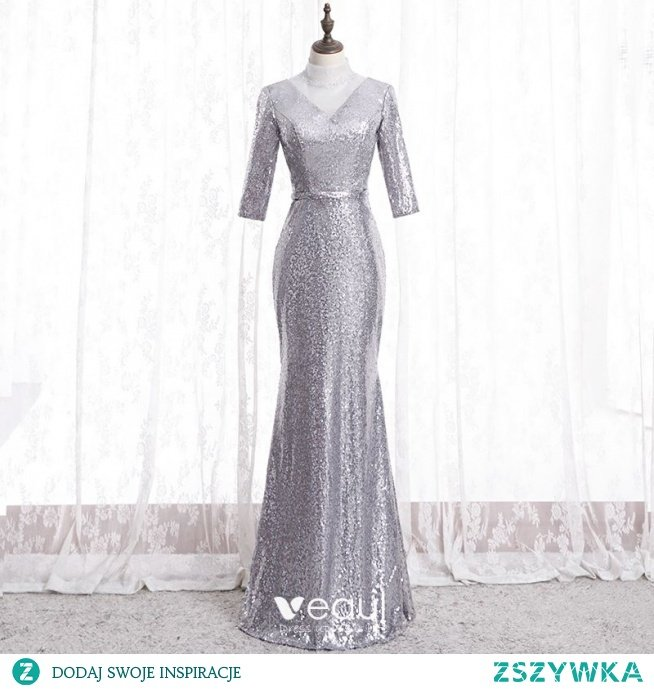 Błyszczące Srebrny Sukienki Wieczorowe 2020 Syrena / Rozkloszowane Wysokiej Szyi Rhinestone Cekiny 3/4 Rękawy Bez Pleców Długie Sukienki Wizytowe
