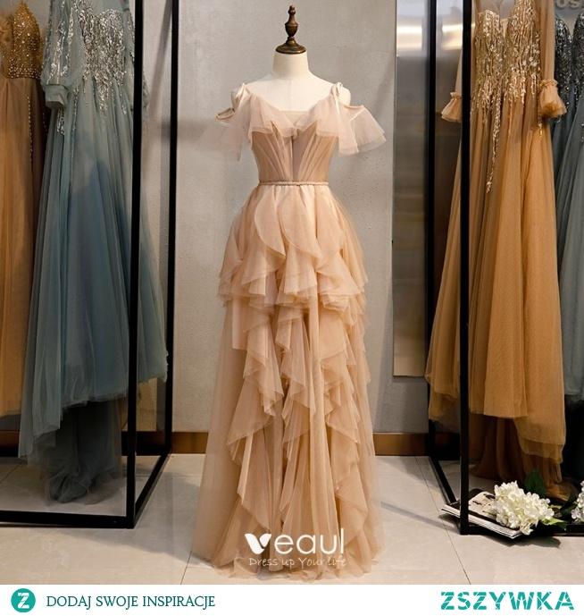 Moda Szampan Sukienki Wieczorowe 2020 Princessa Spaghetti Pasy Bez Rękawów Bez Pleców Kaskadowe Falbany Długie Sukienki Wizytowe