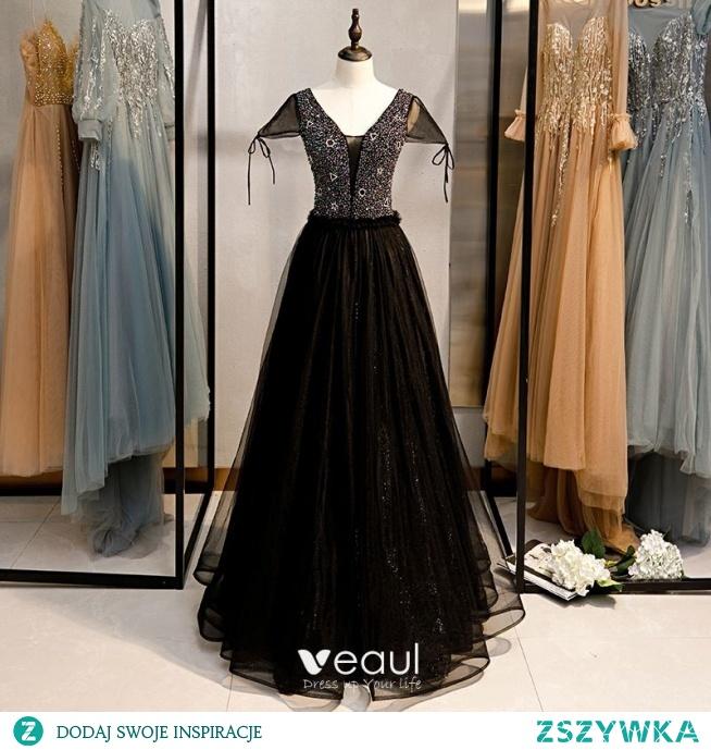 Eleganckie Czarne Sukienki Na Bal 2020 Princessa V-Szyja Frezowanie Rękawy z Kapturkiem Bez Pleców Długie Sukienki Wizytowe
