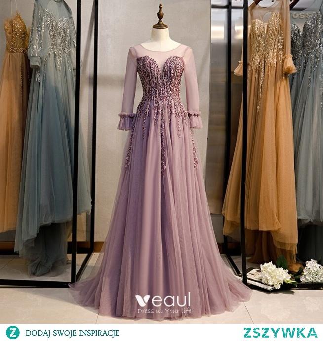 Eleganckie Liliowy Sukienki Na Bal 2020 Princessa Wycięciem Frezowanie Z Koronki Kryształ Długie Rękawy Bez Pleców Trenem Sweep Sukienki Wizytowe