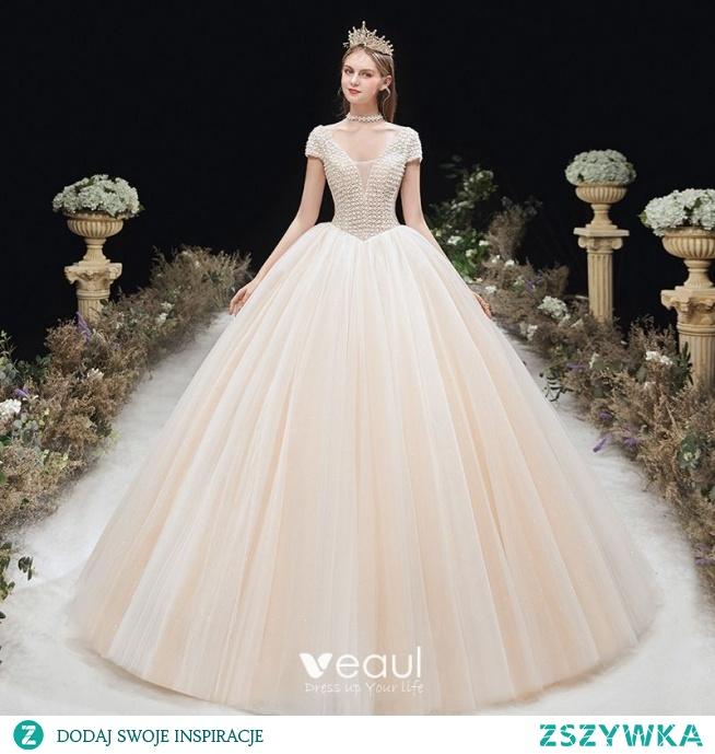Piękne Szampan ślubna Suknie Ślubne 2020 Suknia Balowa Głęboki V-Szyja Kótkie Rękawy Bez Pleców Frezowanie Długie Wzburzyć