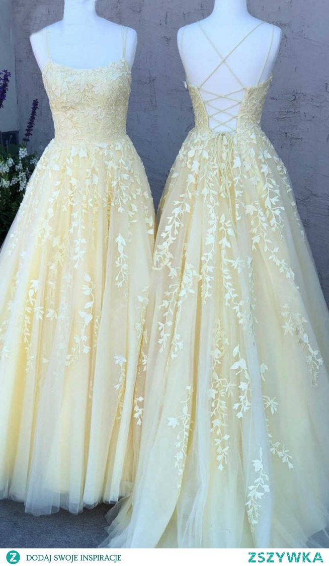 Light Yellow Prom Dresses Strings with Straps KSP563
