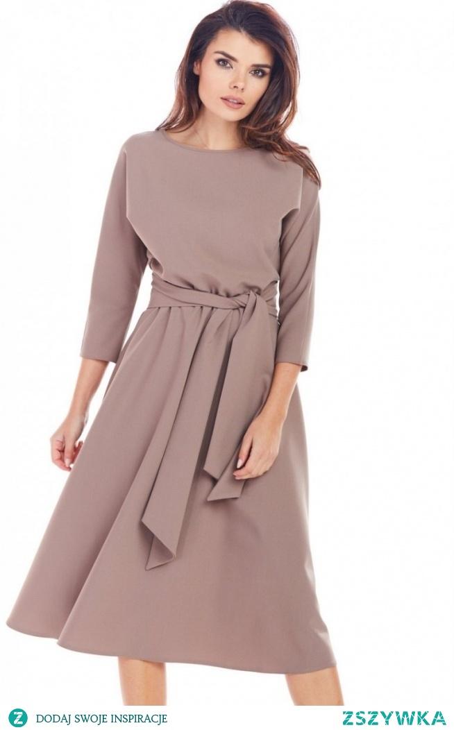 awama Dzienna sukienka z paskiem cappucino A343