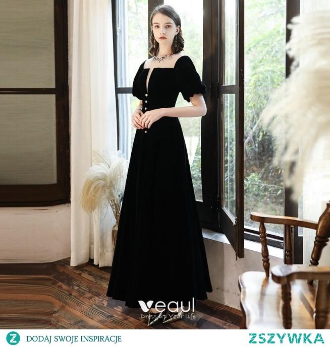 Vintage Czarne Homecoming Sukienki Na Studniówke 2020 Princessa Zamszowe Wycięciem Rhinestone Kótkie Rękawy Bez Pleców Długie Sukienki Wizytowe