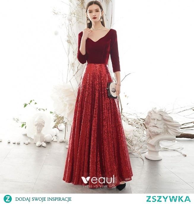 Błyszczące Burgund Zima Sukienki Wieczorowe 2020 Princessa Zamszowe V-Szyja Cekiny 3/4 Rękawy Bez Pleców Długie Sukienki Wizytowe