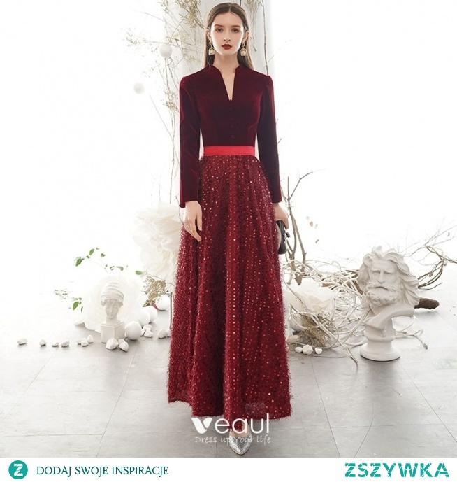 Eleganckie Burgund Zima Sukienki Wieczorowe 2020 Princessa V-Szyja Cekiny Kutas Długie Rękawy Długie Sukienki Wizytowe