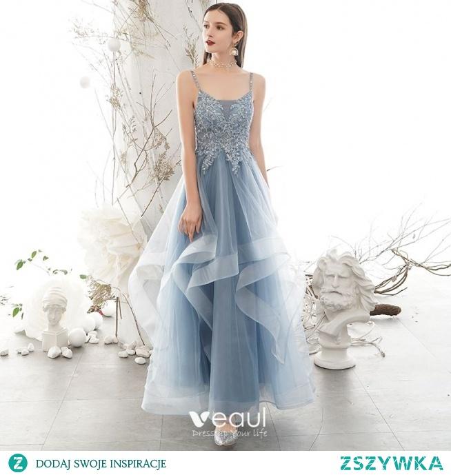 Piękne Błękitne Sukienki Na Bal 2020 Princessa Spaghetti Pasy Rhinestone Z Koronki Kwiat Bez Rękawów Bez Pleców Kaskadowe Falbany Długie Sukienki Wizytowe