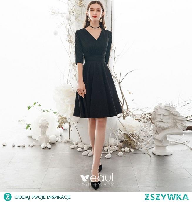 Vintage Proste / Simple Jednolity kolor Czarne Homecoming Sukienki Na Studniówke 2020 Princessa V-Szyja 1/2 Rękawy Długość do kolan Sukienki Wizytowe