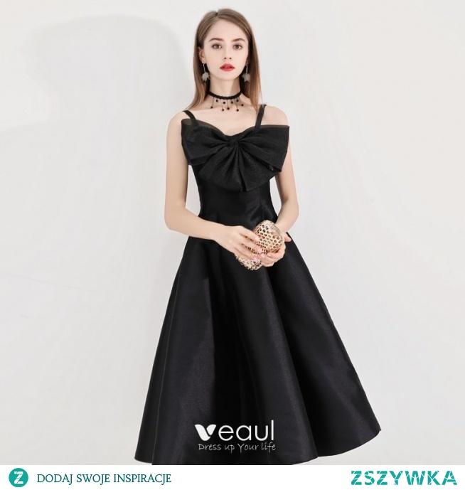 Proste / Simple Czarne Homecoming Sukienki Na Studniówke 2020 Princessa Spaghetti Pasy Kokarda Bez Rękawów Bez Pleców Długość Herbaty Sukienki Wizytowe