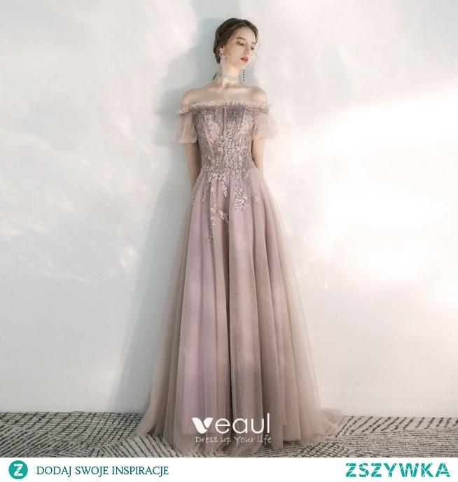 Elegancka Rumieniąc Różowy Sukienki Wieczorowe 2020 Princessa Przy Ramieniu Bufiasta Kótkie Rękawy Aplikacje Z Koronki Frezowanie Trenem Sweep Wzburzyć Bez Pleców Sukienki Wizytowe