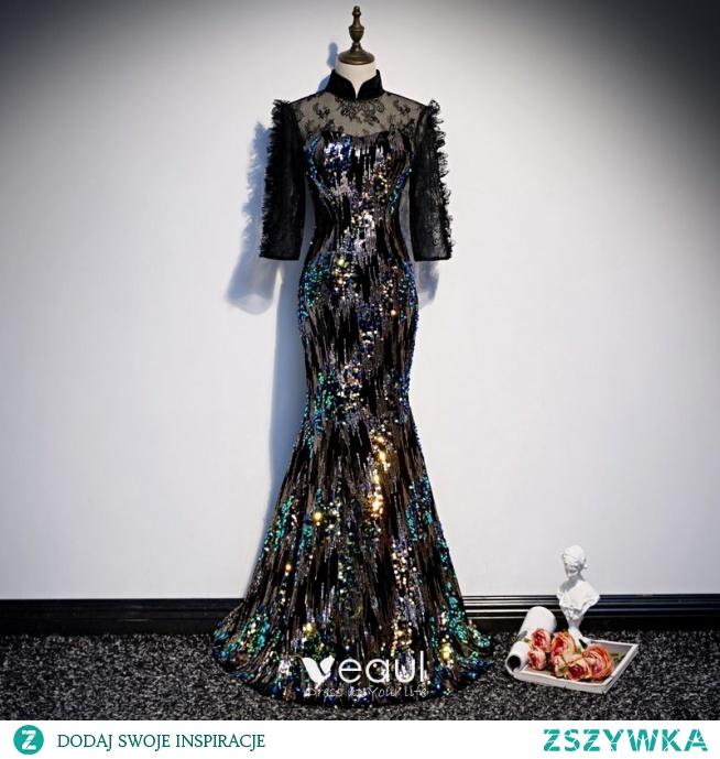 Błyszczące Czarne Przezroczyste Sukienki Wieczorowe 2020 Syrena / Rozkloszowane Wysokiej Szyi 3/4 Rękawy Cekiny Długie Sukienki Wizytowe