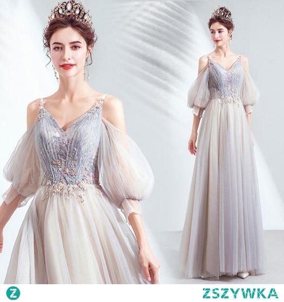 Uroczy Szary Sukienki Na Bal 2020 Princessa V-Szyja Frezowanie Cekiny Z Koronki Kwiat Kótkie Rękawy Bez Pleców Długie Sukienki Wizytowe