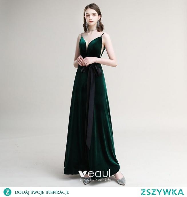 Eleganckie Ciemnozielony Zamszowe Sukienki Wieczorowe 2020 Princessa Spaghetti Pasy Kokarda Bez Rękawów Bez Pleców Długie Sukienki Wizytowe