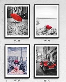 Przepiękne obrazy MDF, z czerwonymi akcentami.