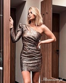 Złota cekinowa sukienka z k...