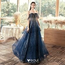 Piękne Granatowe Sukienki W...