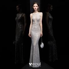 Moda Srebrny Cekiny Sukienk...