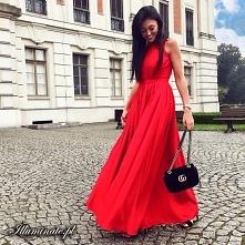Czerwona sukienka maxi z ko...