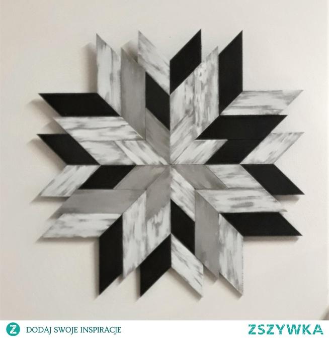 Obraz z drewnianych elementów. Ręcznie wykonana, wyjątkowa dekoracja. pieknerzeczy.com.pl