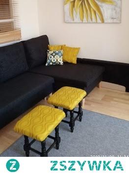 stare taborety przerobione na podnóżki do kanapy