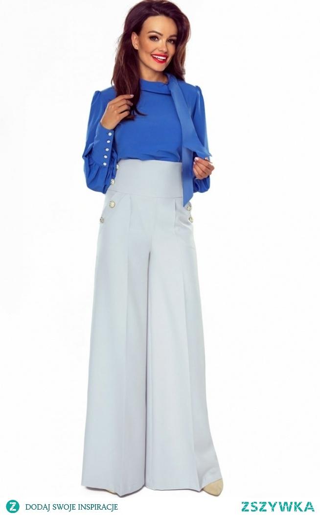 BERGAMO Eleganckie spodnie z szerokimi nogawkami szare