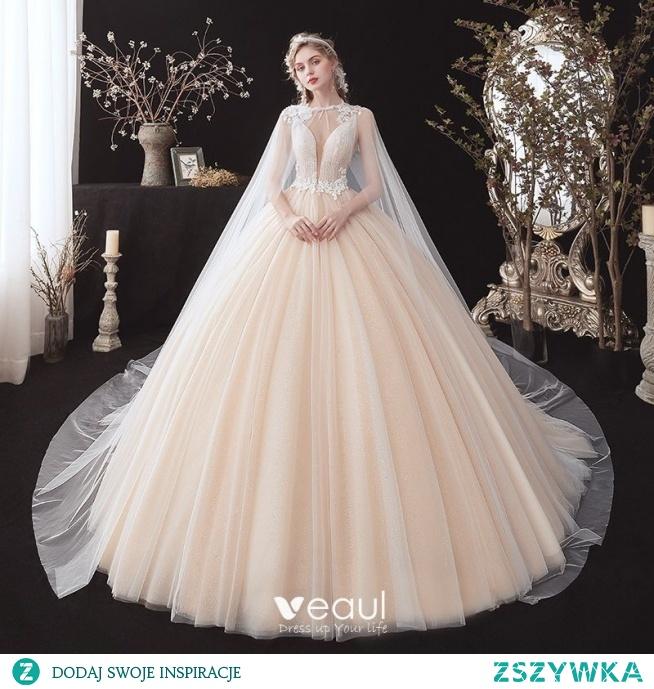 Romantyczny Szampan ślubna Suknie Ślubne Z Szalem 2020
