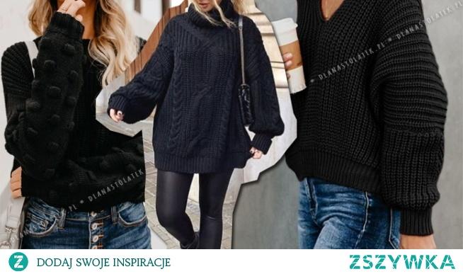 Zimowe stylówki z czarnym swetrem