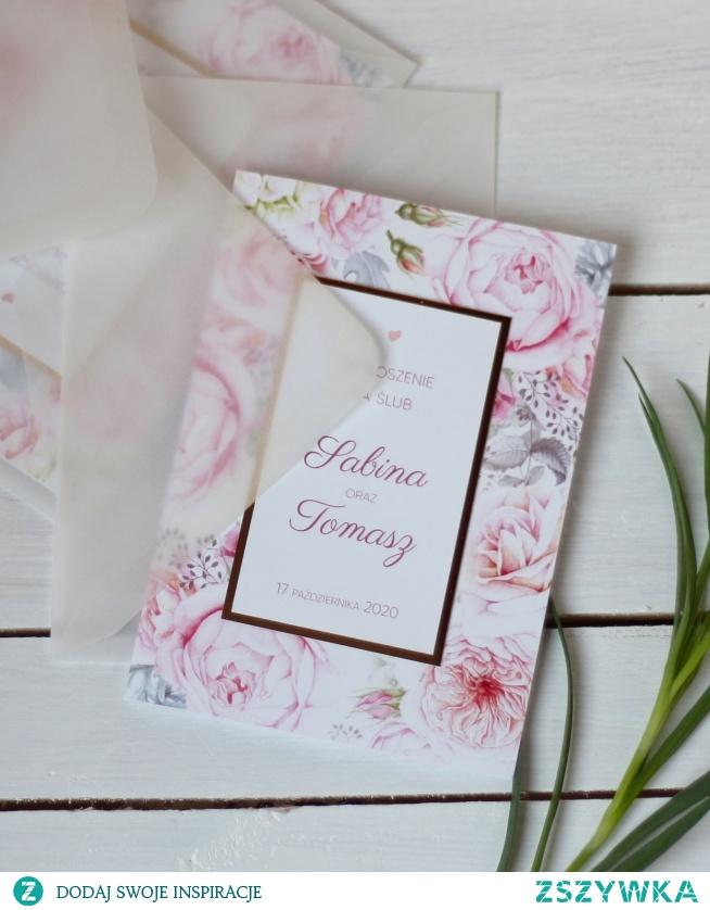 Eleganckie zaproszenia kwiatowe - piwonie